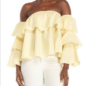 The Indigo Child tiered yellow off shoulder top